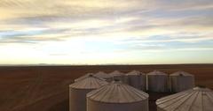 Grain Bin Sunset Flight Stock Footage