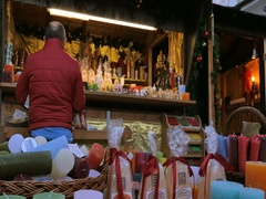 Candle shop at the Christmas Market in Bad Toelz, Bavaria, Germany Stock Footage