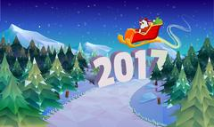 Santa Claus sleigh fly over the forest . Christmas card, invitation, background Stock Illustration