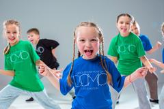 The kids dance school, ballet, hiphop, street, funky and modern dancers Stock Photos