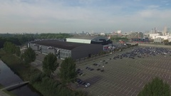 Aerials Rotterdam South Ahoy events center complex Stock Footage