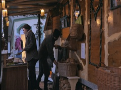 Bread shop at the Christmas Market in Bad Toelz, Bavaria, Germany Stock Footage