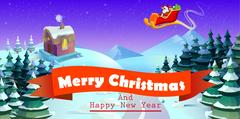 Santa Claus on sleigh and his reindeers. Winter town. Urban  landscape Stock Illustration