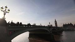 Westminster bridge, Big Ben and Portcullis house Stock Footage