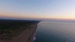 480Aerial shot, calm sea in the fall on the sunset, filmed with drone Stock Footage