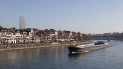 An empty cargo ship on the Rhine River in Basel Stock Footage