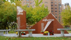 Buffalo, NY, USA : Monument to fallen US soldiers Stock Footage