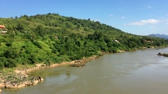 View of Nong Khiaw river landscape, north Laos Stock Footage