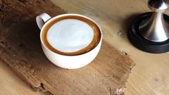 Latte art coffee technician decoration Stock Footage