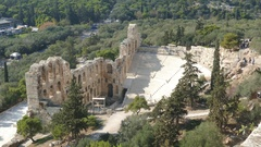 4K Greece Athens Acropolis The Odeon Of Herodes Atticus Theater Theatre Stock Footage