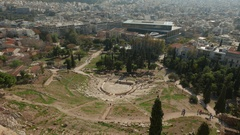 4K Greece Athens Athina Athen ruins Theater of Dionysus Europe Stock Footage