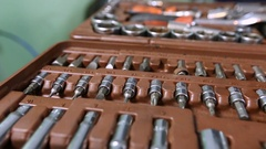Box of tools for auto repair Stock Footage