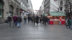 People and streets in Belgrade,Christmas atmosphere Stock Footage
