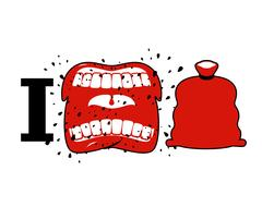I hate Christmas. Wicked shout symbol of hatred and Santa bag. Aggressive O.. Stock Illustration