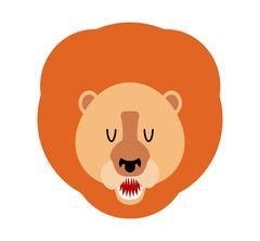 Lion muzzle isolated. Leo face. Savannah wild animal with mane. Predator Af.. Piirros