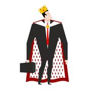 Boss king in crown and royal cloak. Businessman Prince. Head in regal mantl.. Stock Illustration