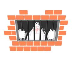 Santa Claus prison in striped robe. Window in prison with bars. Bad Santa c.. Stock Illustration