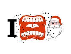 I hate Santa. shout symbol of hatred face Santa Claus. Aggressive Open mout.. Stock Illustration