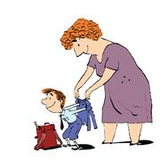 Grandma or the nanny accompanies her grandson to school Stock Illustration