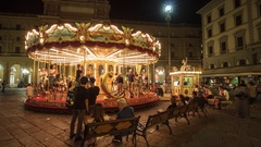 Florence, Carousel with horses in Piazza della Repubblica Stock Footage
