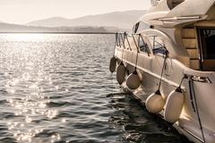 Ready to Sail... Luxury Yacht at Harbor Before Sunset Stock Photos