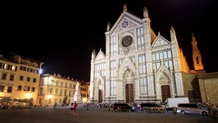 Night view of  Piazza Santa Croce Stock Footage