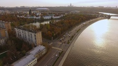 Aerial view of the capital of Russia - Moscow. Moskva River. 4K Stock Footage