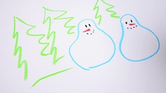 We draw snowmen and fir-trees Stock Footage