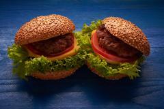 Hamburger on a table Stock Photos