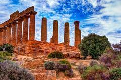 Temple of Juno - ancient Greek landmark in the Valle dei Templi Stock Photos