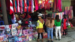Tourists buy goods at Sa Pa city market, Vietnam Stock Footage