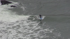 Aerial view courageous surfer active person practice dangerous extreme sport day Stock Footage