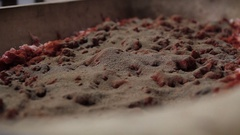 Making of hungarian sausage, spicing raw meat with paprika, pepper, red wine Stock Footage