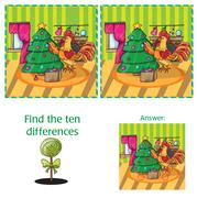 Cartoon Vector Illustration of Finding Differences for Preschool Children Stock Illustration