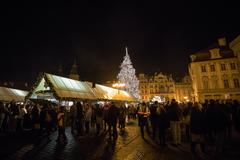 Old Town Square with the Christmas tree in Prague at advent Christmas time Stock Photos