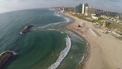Aerial view of Herzliya beach and marina. Israel Stock Footage