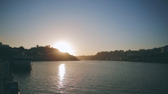 Amazing view of the river while the sun is setting Stock Footage
