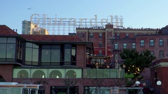 View of Ghirardelli sign in San Francisco Stock Footage