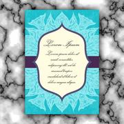 Wedding invitation or greeting card with vintage lace ornament. Mock-up for.. Stock Illustration