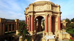 Aerial view of San Francisco Palace of Fine Arts Theatre 5 Stock Footage