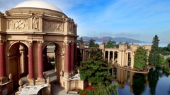 Aerial view of San Francisco Palace of Fine Arts Theatre 11 Stock Footage