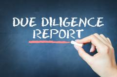 Due diligence report text written with chalk on blackboard Stock Photos
