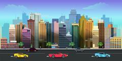 City game background 2d application. Vector design Stock Illustration