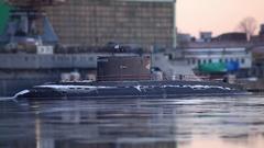 Submarine to the pier Stock Footage