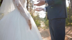 Groom kiss hands of his bride Stock Footage