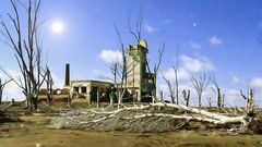 Old Building Abandoned in the Ghost Town Epecuen Stock Footage