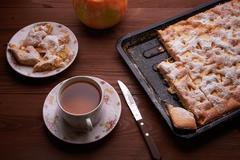Apple pie charlotte on the wooden table Kuvituskuvat