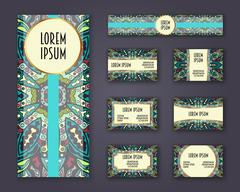 Business cards, invitations and banner template set. Ethnic mandala pattern.. Stock Illustration