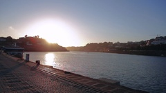 View of amazing Douro River while the sun is setting Stock Footage