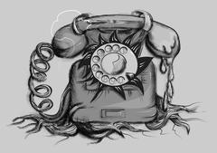 Retro rotary dial telephone Stock Illustration